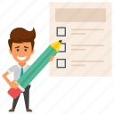 business survey, businessman checklist, businessman planner, customer feedback, signed policy icon