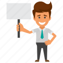 ads display, advertising banner, businessman with placard, marketing campaign, public notice icon