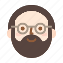 avatar, beard, man, smile icon
