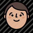 boy, face, profile, smile icon
