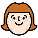 face, happy, smile, woman icon
