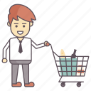 grocery, man buys drinks, man in supermarket, shopping, supermarket icon