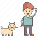 daily exercise, dog as pet, dog walker, dog walking, person walking with dog icon