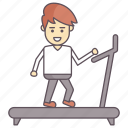exercise, fitness, gym, man running on treadmill, working out icon