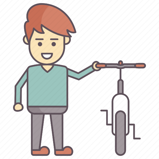 boy with cycle, cycling, cyclist, recreation icon