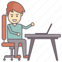 computer work, internet surfing, job, man working on laptop, office icon