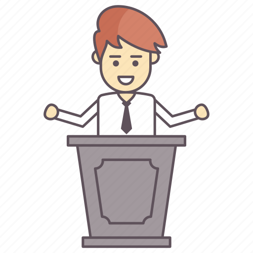 address, conference, lecture, meeting, speech icon