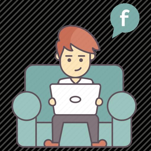 internet user, social media activity, social media user, social network user, social website user icon