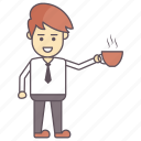 man drinking coffee, man drinking tea, man holding hot tea, morning coffee, morning tea icon