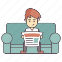 man reading newspaper, man reading paper, morning paper, newspaper reading, reading morning paper icon