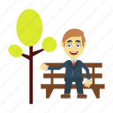bench, employee, happy, man, tree