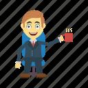 coffee, employee, happy, tea, user icon