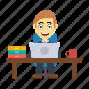 desk, employee, laptop, table, working