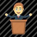board, employee, happy, presentation, speech