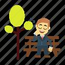 employee, garden, park, sleeping, tree icon