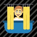 bath, employee, happy, shower, tub