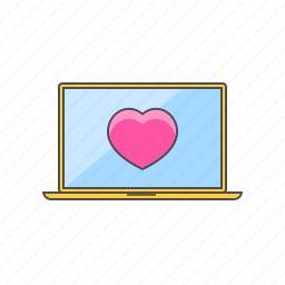 dating, laptop, love, online, valentine day icon