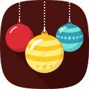 balls, colorful, decoration, xmas icon