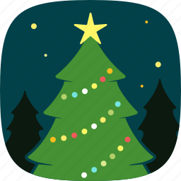decoration, lights, pine, tree, xmas icon