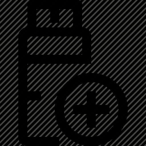 add, file, flashdrive icon