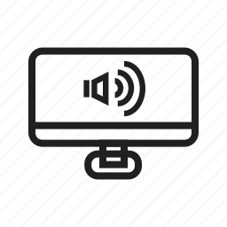 computer, desktop, display, hardware, screen, sound icon
