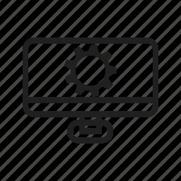 computer, desktop, gear, hardware, line icon
