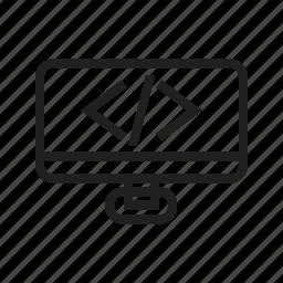 computer, device, hardware, html, line, pc icon