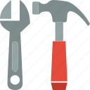 adjustable, hammer, tools, wrench icon