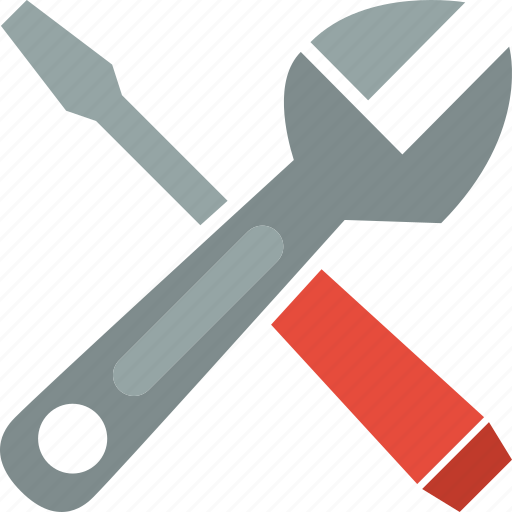 adjustable, screwdriver, slotted, wrench icon
