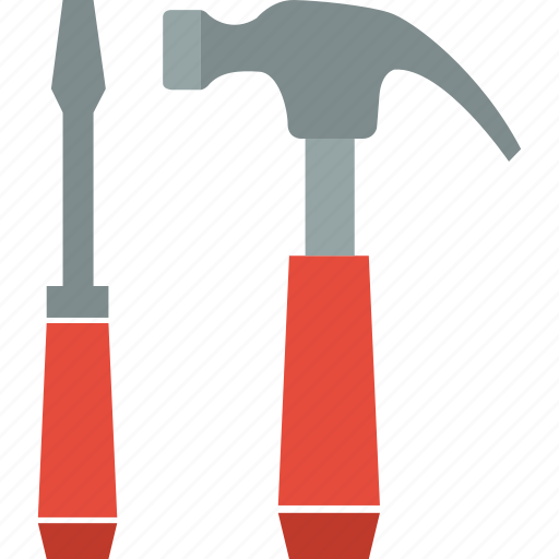 hammer, screwdriver, slotted, tools icon