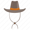 cowboy, hat, head, man, west, wild icon