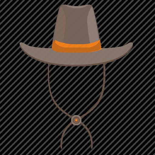 cowboy, hat, head, man, west, wild icon