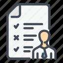 candidate, doc, document, employee, job, quiz, test icon