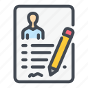 candidate, cv, document, employee, job, pen, resume icon