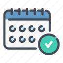 approved, calendar, done, job, success, tick icon