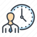 candidate, hour, job, person, time, work, workflow icon