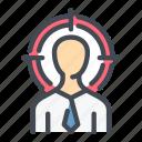 audience, find, head, hunter, job, target, work icon