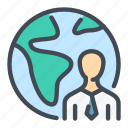earth, employee, globe, job, person, world, worldwide