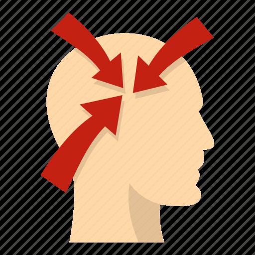 arrow, brain, concept, head, idea, inside, three icon