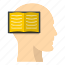 book, brain, head, inside, list, paper, read icon