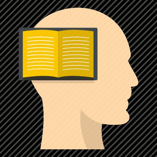 book, brain, head, inside, list, paper, read icon