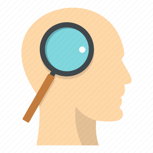 brain, glass, head, inside, magnifier, magnifying, paper icon