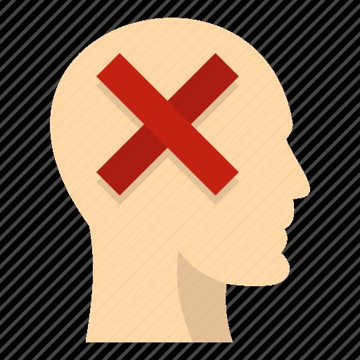 brain, concept, cross, head, idea, inside, no icon