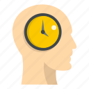 business, clock, head, human, mind, minute, time icon