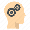 brain, cog, gear, head, human, idea, inside icon