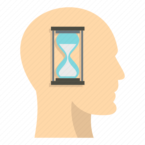 brain, clock, head, hourglass, inside, period, time icon
