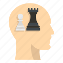 brain, chess, concept, head, inside, pawn, queen icon