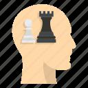 brain, chess, concept, head, inside, pawn, queen