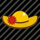 elegant, fashion, female, hat with flower, lady, retro, summer