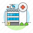 building, care, clinic, cross, health, helicopter, hospital, institution, red icon